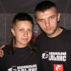 """З лідеркою білоруської організації """"Бунт"""" Тетяною Єловою 2006 р.Б."""