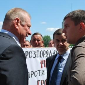 """Під час акції протесту працівників """"Волиньоблагролісу"""" 2011 р.Б."""